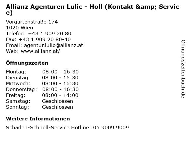 Allianz Agenturen Lulic - Holl (Kontakt & Service) in Wien: Adresse und Öffnungszeiten