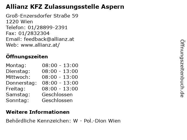 Allianz KFZ Zulassungsstelle Aspern in Wien: Adresse und Öffnungszeiten