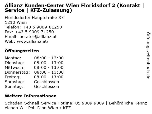 Allianz Kunden-Center Wien Floridsdorf 2 (Kontakt | Service | KFZ-Zulassung) in Wien: Adresse und Öffnungszeiten