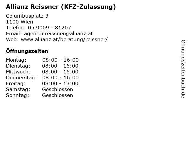 Allianz Reissner (KFZ-Zulassung) in Wien: Adresse und Öffnungszeiten