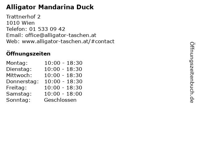 Alligator Mandarina Duck in Wien: Adresse und Öffnungszeiten