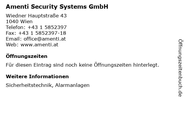 Amenti Security Systems GmbH in Wien: Adresse und Öffnungszeiten