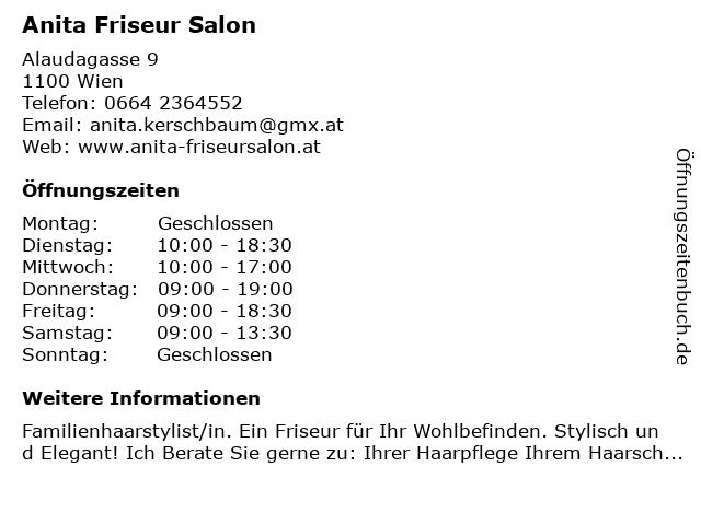 Anita Friseur Salon in Wien: Adresse und Öffnungszeiten