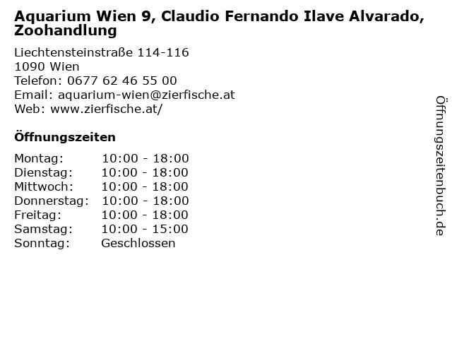 Aquarium Wien 9, Benno David OG Zoohandlung in Wien: Adresse und Öffnungszeiten