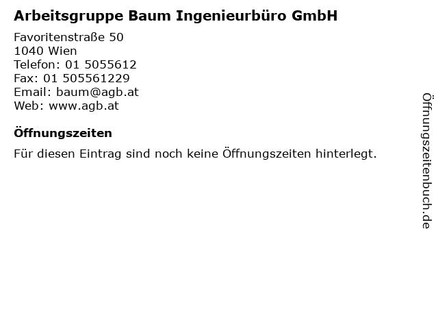Arbeitsgruppe Baum Ingenieurbüro GmbH in Wien: Adresse und Öffnungszeiten