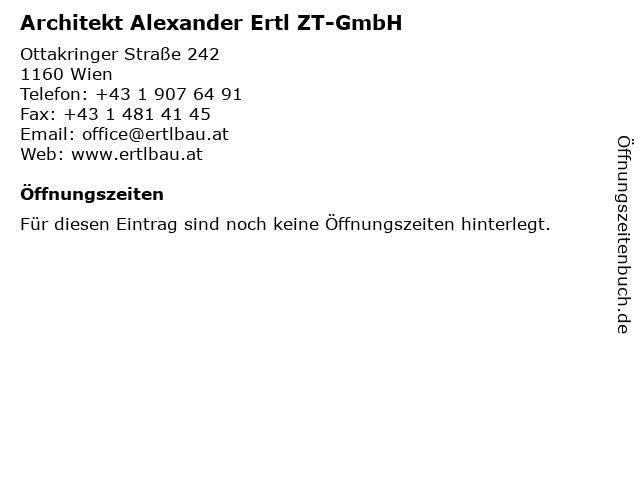 Architekt Alexander Ertl ZT-GmbH in Wien: Adresse und Öffnungszeiten
