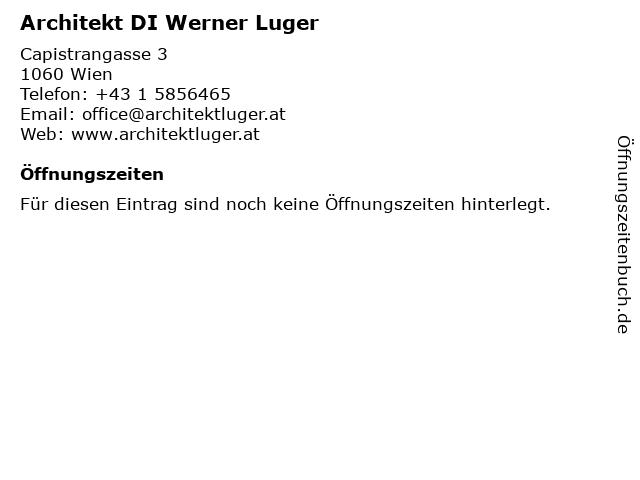 Architekt DI Werner Luger in Wien: Adresse und Öffnungszeiten
