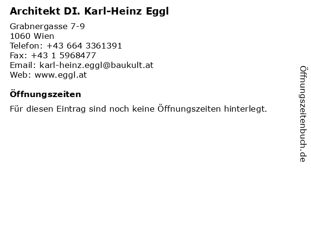 Architekt DI. Karl-Heinz Eggl in Wien: Adresse und Öffnungszeiten