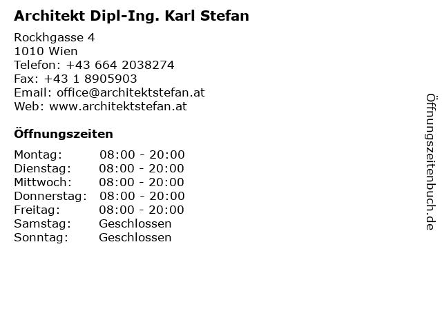 Architekt Dipl-Ing. Karl Stefan in Wien: Adresse und Öffnungszeiten
