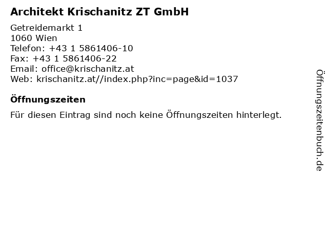 Architekt Krischanitz ZT GmbH in Wien: Adresse und Öffnungszeiten