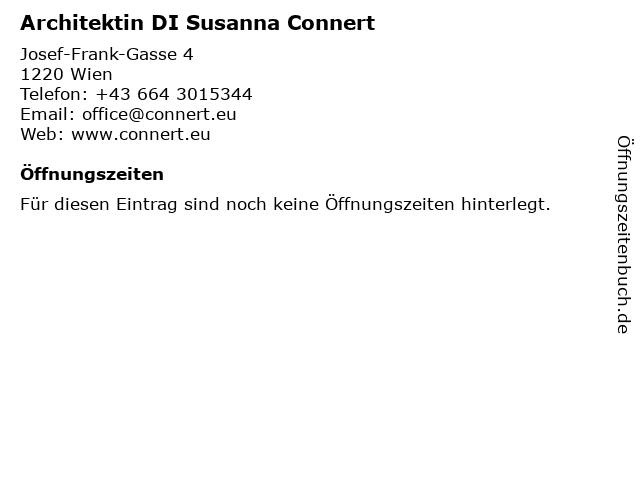 Architektin DI Susanna Connert in Wien: Adresse und Öffnungszeiten