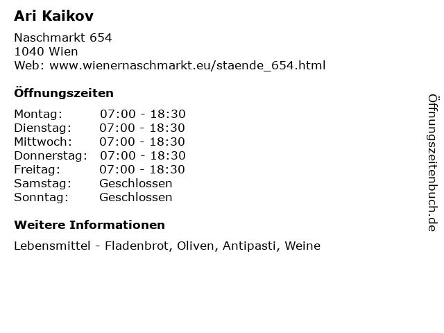 Ari Kaikov in Wien: Adresse und Öffnungszeiten