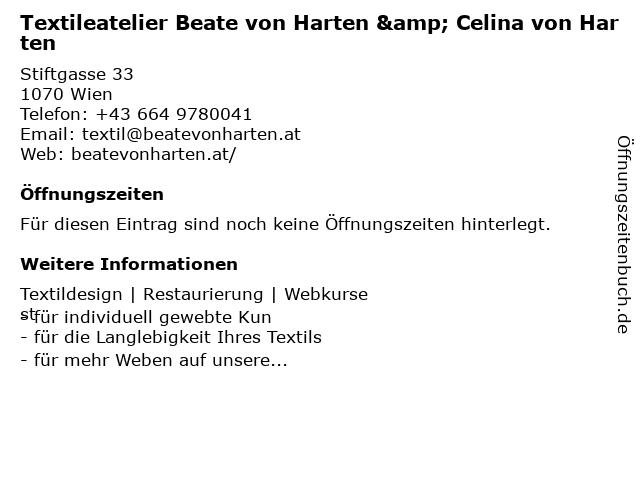 Atelier Beate von Harten in Wien: Adresse und Öffnungszeiten