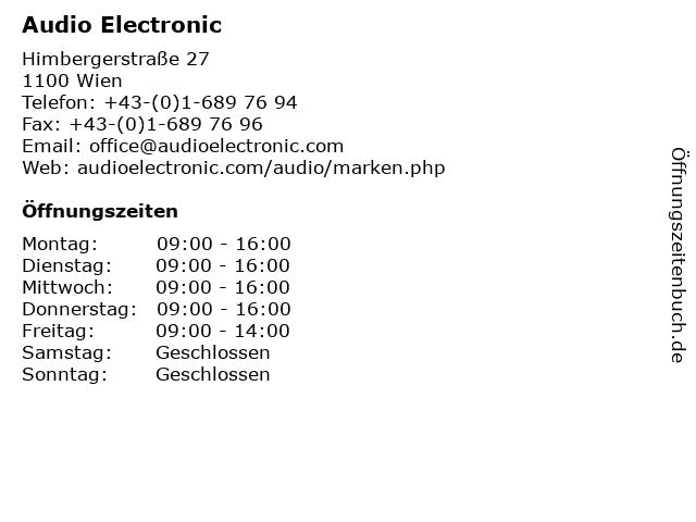 Audio Electronic in Wien: Adresse und Öffnungszeiten