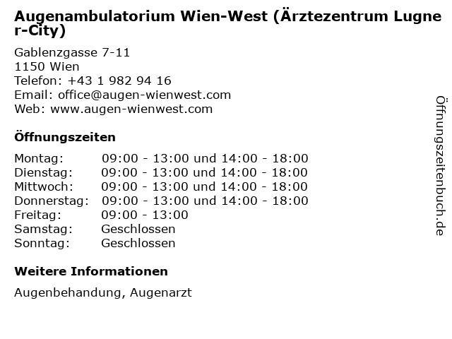 Augenambulatorium Wien-West (Ärztezentrum Lugner-City) in Wien: Adresse und Öffnungszeiten