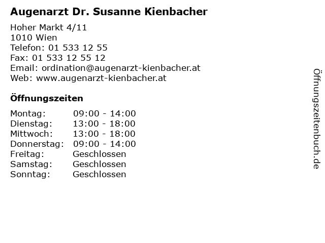 Augenarzt Dr. Susanne Kienbacher in Wien: Adresse und Öffnungszeiten