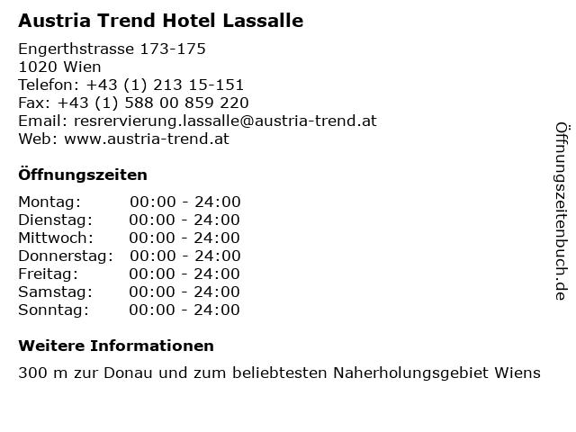 Austria Trend Hotel Lassalle in Wien: Adresse und Öffnungszeiten