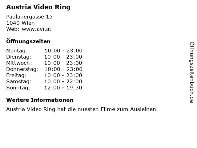 Austria Video Ring in Wien: Adresse und Öffnungszeiten