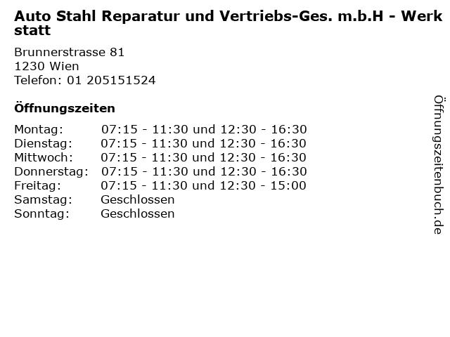 Auto Stahl Reparatur und Vertriebs-Ges. m.b.H - Werkstatt in Wien: Adresse und Öffnungszeiten