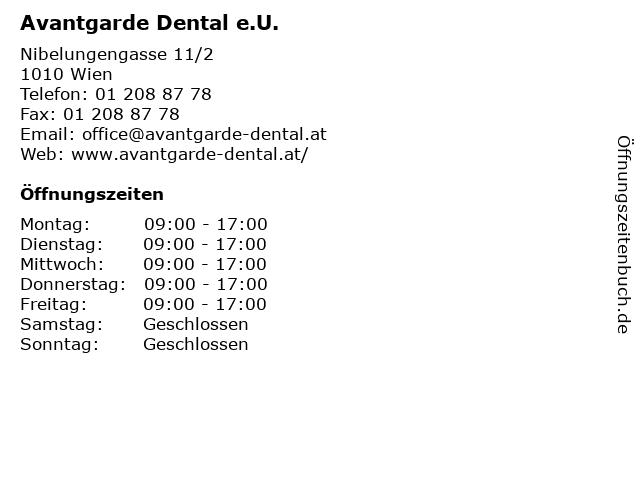 Avantgarde Dental e.U. in Wien: Adresse und Öffnungszeiten