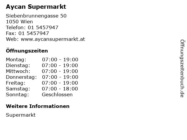 Aycan Supermarkt in Wien: Adresse und Öffnungszeiten