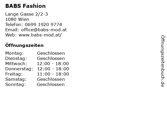 BABS Fashion in Wien: Adresse und Öffnungszeiten