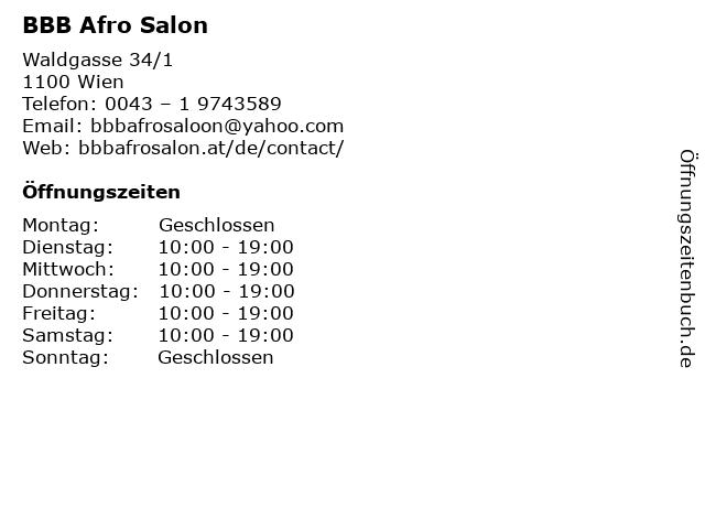 BBB Afro Salon in Wien: Adresse und Öffnungszeiten