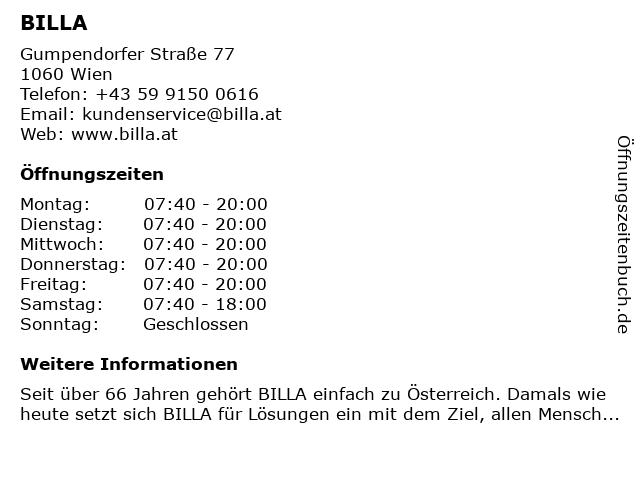 BILLA AG in Wien: Adresse und Öffnungszeiten