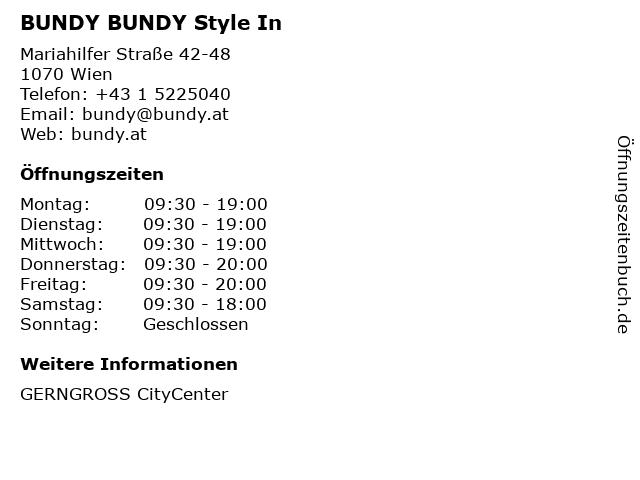 BUNDY BUNDY Style In in Wien: Adresse und Öffnungszeiten