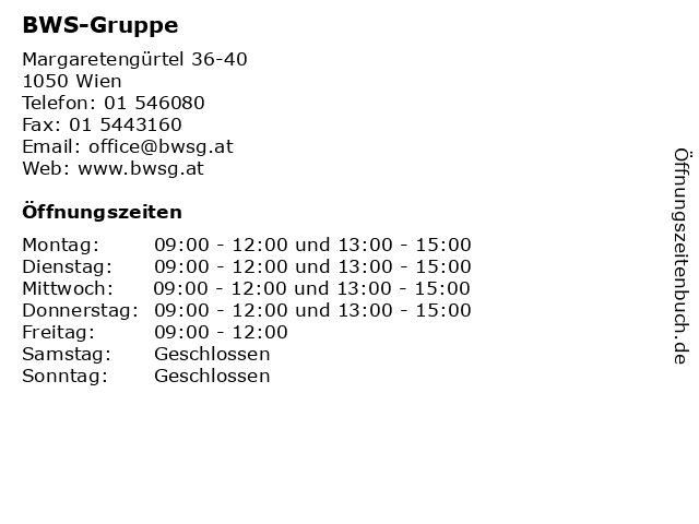ᐅ öffnungszeiten Bws Gruppe Margaretengürtel 36 40 In Wien