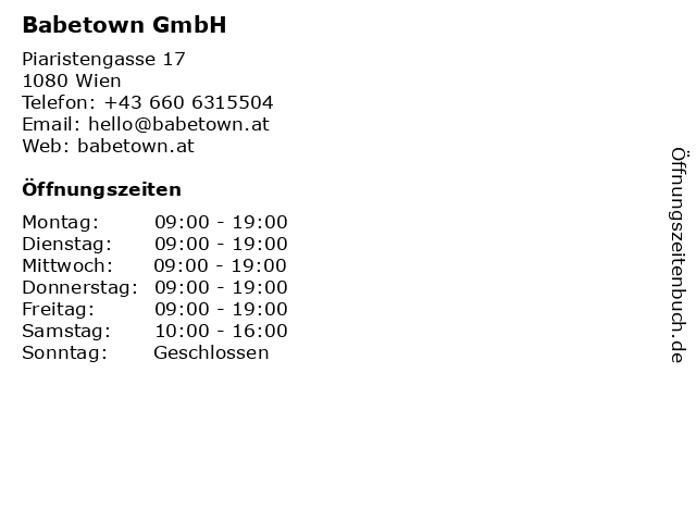 Babetown GmbH in Wien: Adresse und Öffnungszeiten