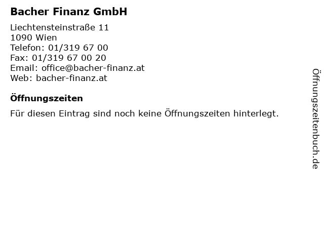 Bacher Finanz GmbH in Wien: Adresse und Öffnungszeiten