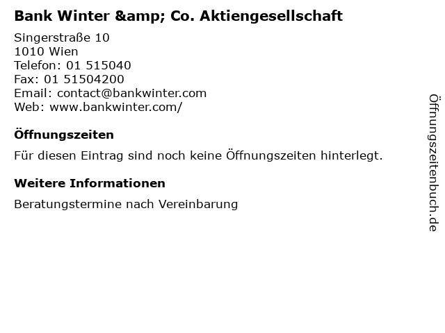 Bank Winter & Co. Aktiengesellschaft in Wien: Adresse und Öffnungszeiten