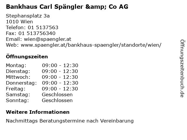 Bankhaus Carl Spängler & Co AG in Wien: Adresse und Öffnungszeiten