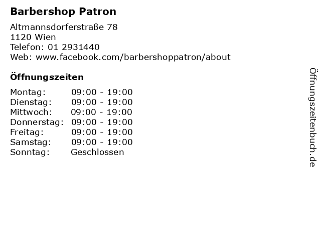 Barbershop Patron in Wien: Adresse und Öffnungszeiten
