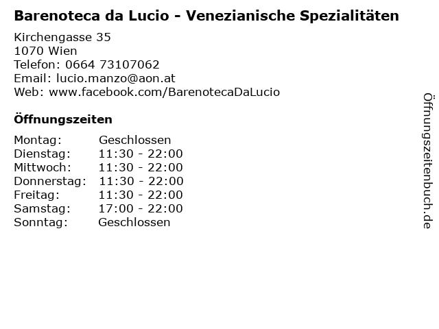 Barenoteca da Lucio - Venezianische Spezialitäten in Wien: Adresse und Öffnungszeiten