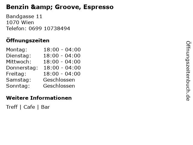 Benzin & Groove, Espresso in Wien: Adresse und Öffnungszeiten