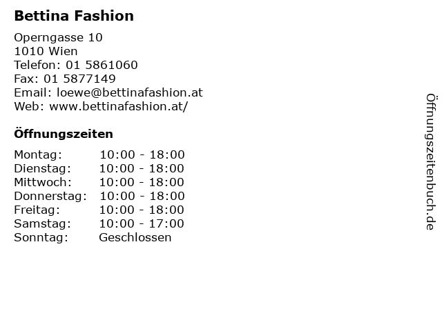 Bettina Fashion in Wien: Adresse und Öffnungszeiten