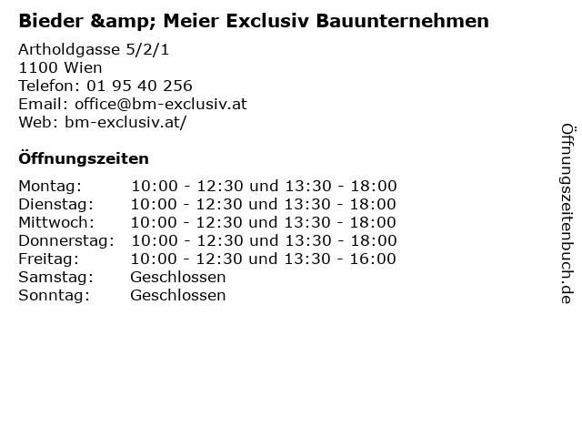 Bieder & Meier Exclusiv Bauunternehmen in Wien: Adresse und Öffnungszeiten