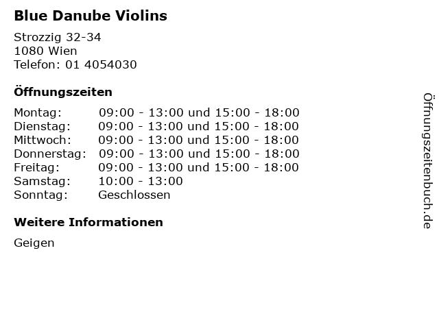 Blue Danube Violins in Wien: Adresse und Öffnungszeiten
