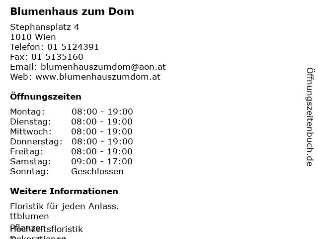 Blumenhaus zum Dom in Wien: Adresse und Öffnungszeiten