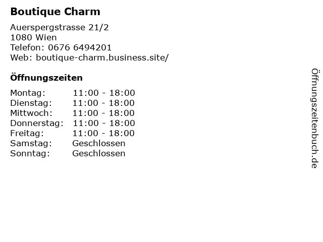 Boutique Charm in Wien: Adresse und Öffnungszeiten