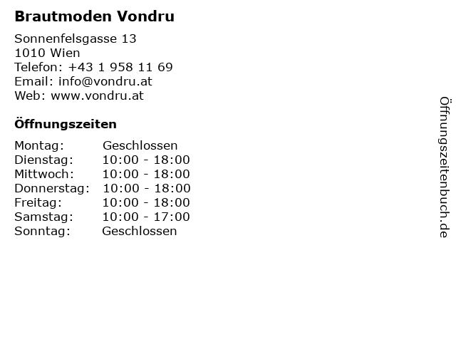 ᐅ Offnungszeiten Brautmoden Vondru Sonnenfelsgasse 13 In Wien