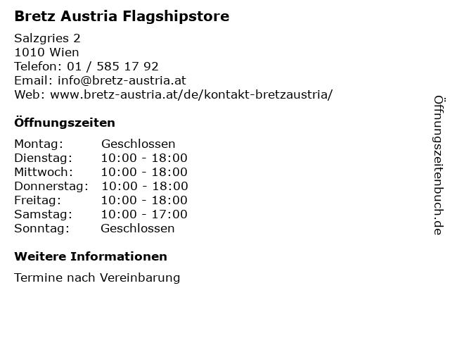 Bretz Austria Flagshipstore in Wien: Adresse und Öffnungszeiten