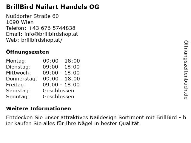 BrillBird Nailart Handels OG in Wien: Adresse und Öffnungszeiten