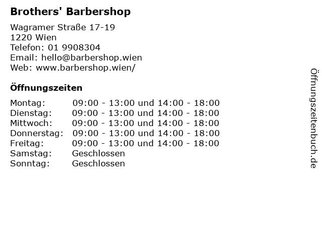 Brothers' Barbershop in Wien: Adresse und Öffnungszeiten