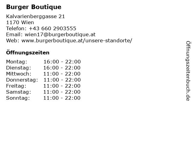 Burger Boutique in Wien: Adresse und Öffnungszeiten