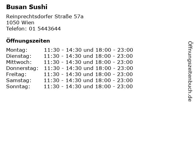 Busan Sushi in Wien: Adresse und Öffnungszeiten