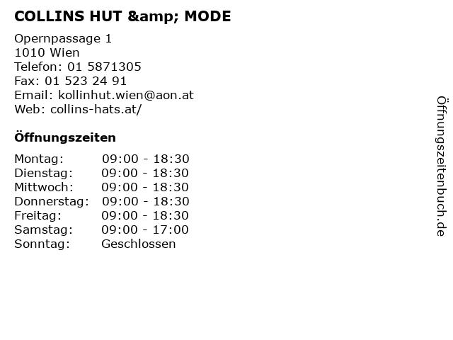 COLLINS HUT & MODE in Wien: Adresse und Öffnungszeiten