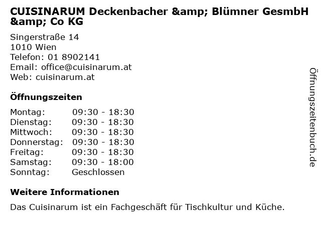 CUISINARUM Deckenbacher & Blümner GesmbH & Co KG in Wien: Adresse und Öffnungszeiten